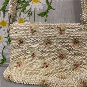 Vintage needle point style beaded shoulder bag
